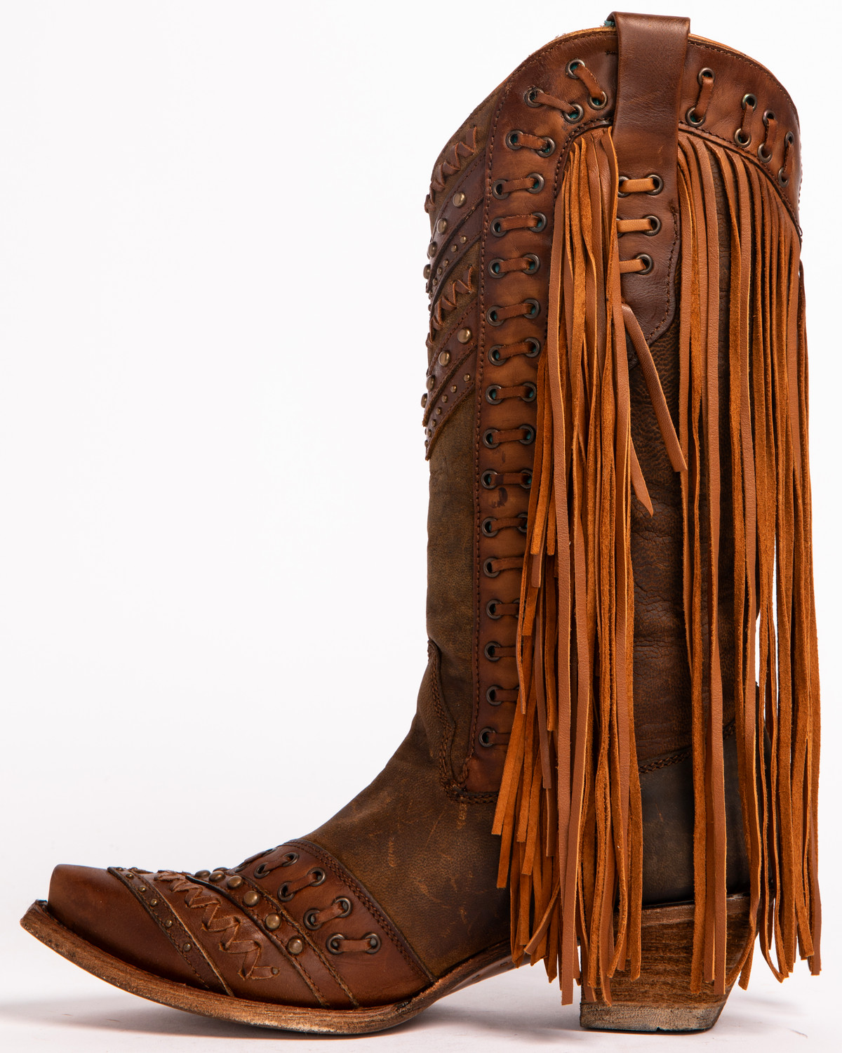 Corral Women's Studded Fringe Cowgirl Boots - Snip Toe - Country ...