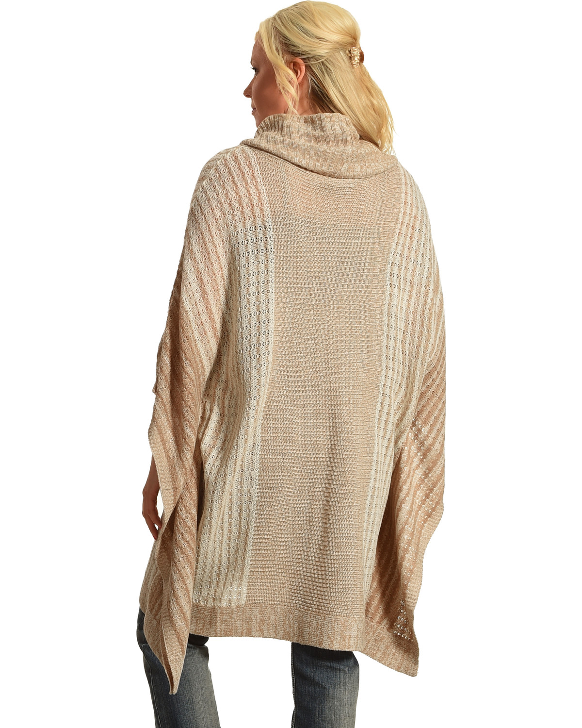Allison Brittney Women's Stripe Cowl Neck Poncho - Country Outfitter