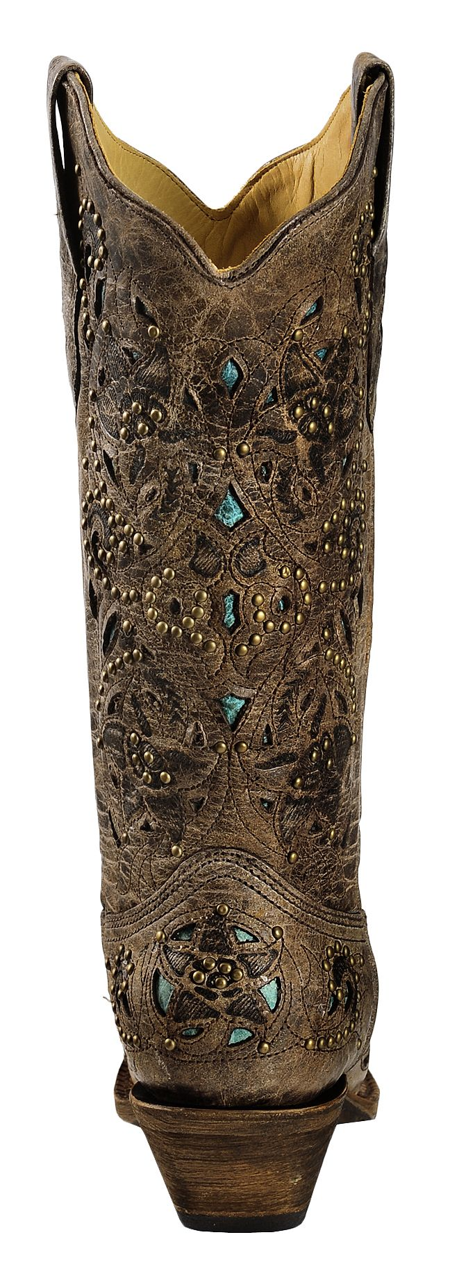 Corral Studded Turquoise Leather Inlay Cowgirl Boots - Snip Toe ...