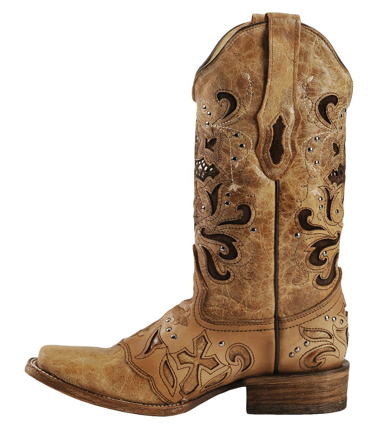 Corral Studded Cross Inlay Cowgirl Boots - Square Toe - Country ...