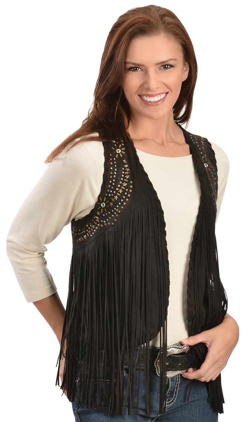 Panhandle Slim Women's Black Suede Fringe Vest - Country Outfitter