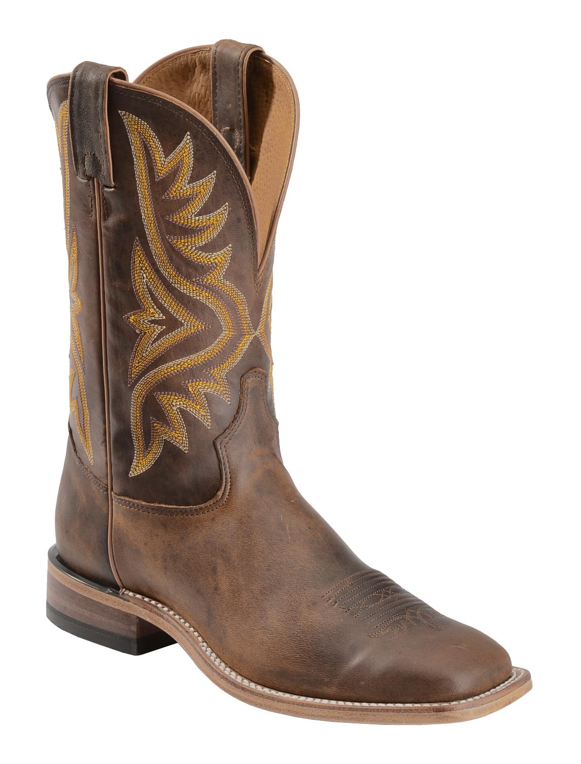 Tony Lama Tan Worn Goat Leather Americana Cowboy Boots - Square ...