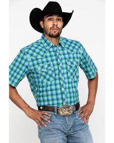 Wrangler 20X Men's Advanced Comfort Yellow Plaid Short Sleeve Western Shirt , Blue, hi-res