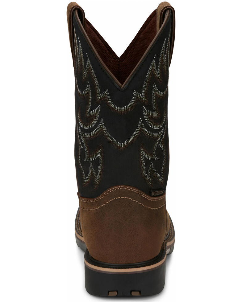Justin Men's Fireman Black Western Boots - Square Toe, Tan, hi-res