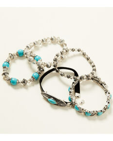 Shyanne Women's Shimmer Concho Mixed Beaded Bracelet Set, Silver, hi-res