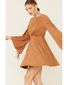 Flying Tomato Women's Suede Open Bell Sleeve Dress, Camel, hi-res