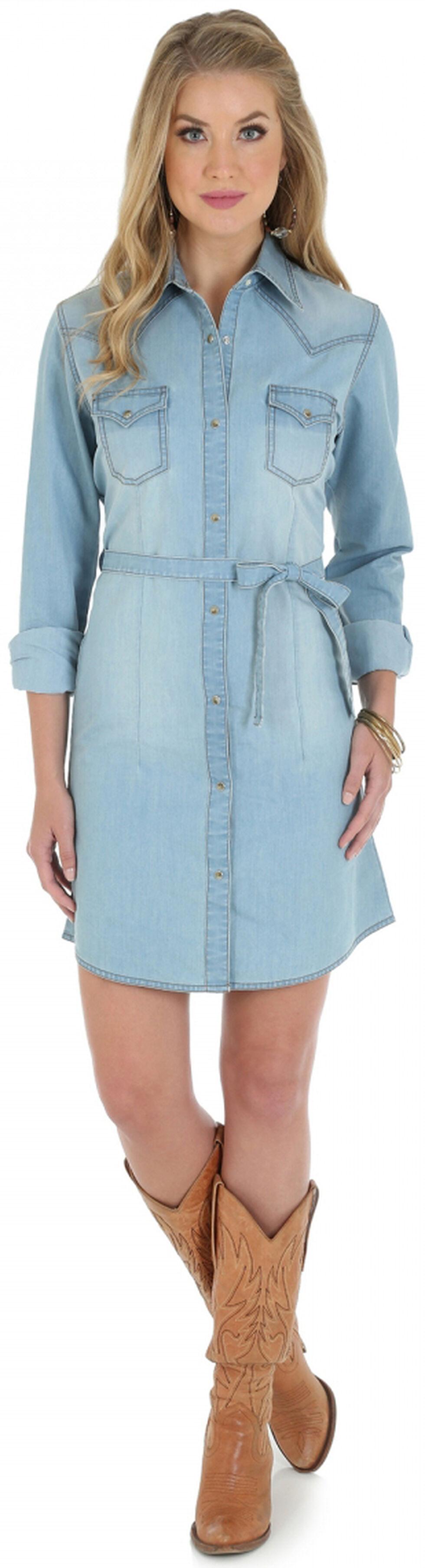 Wrangler Long Sleeve Stonewash Denim Shirt Dress, Stonewash, hi-res