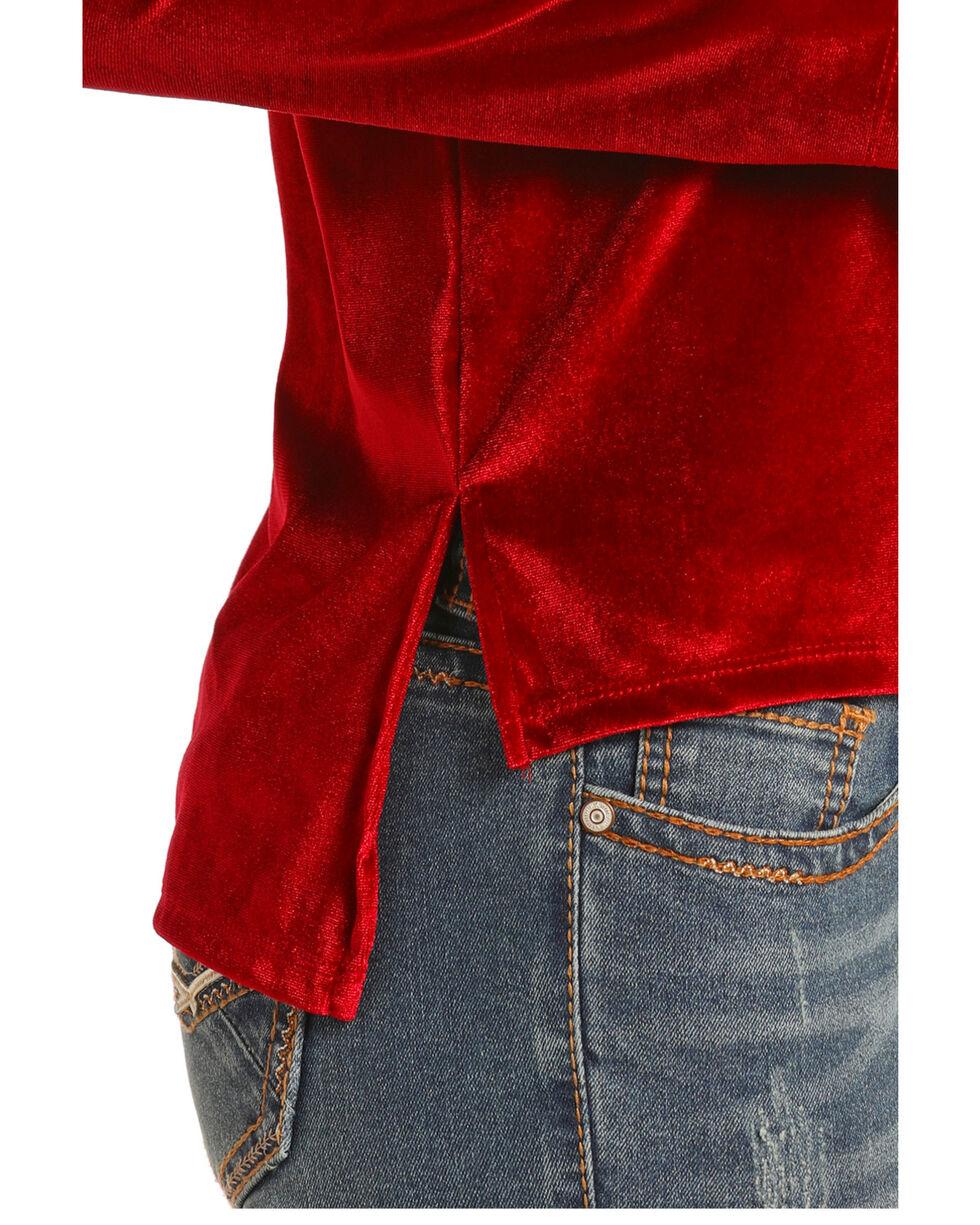 Rock & Roll Cowgirl Women's Velvet Top, Red, hi-res