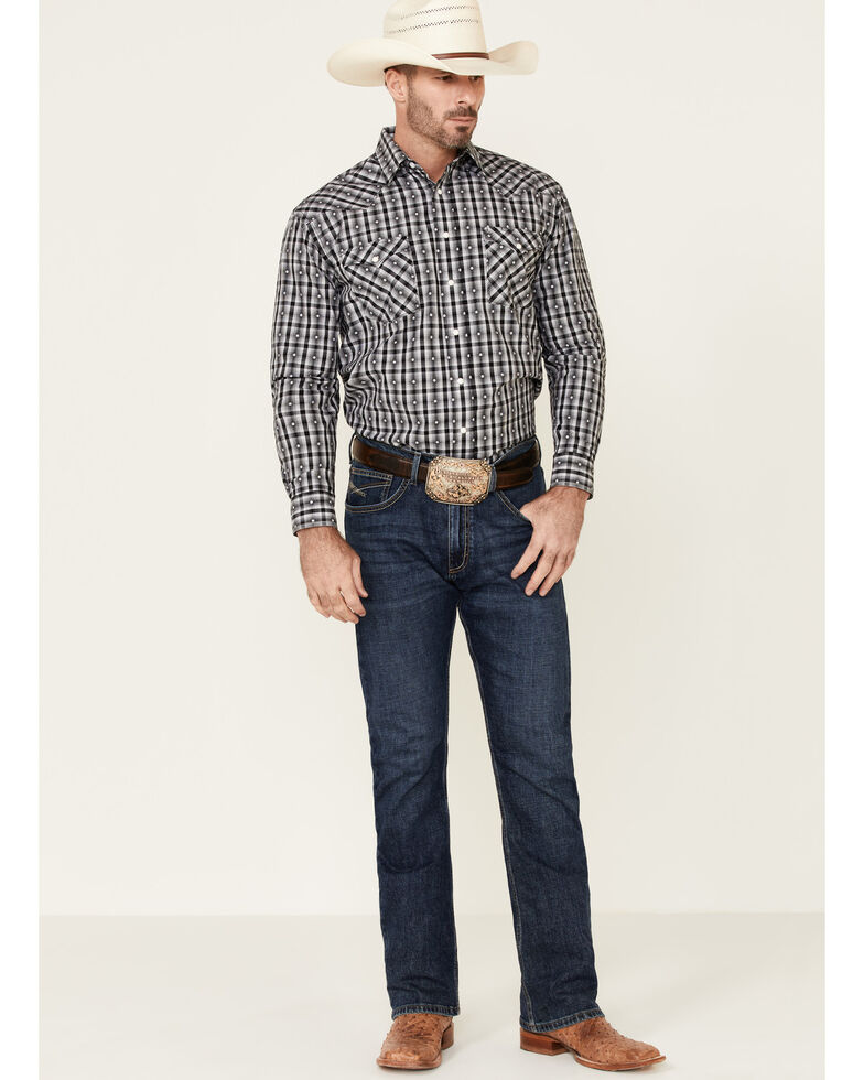 Rough Stock By Panhandle Men's Black Jacquard Plaid Long Sleeve Western Shirt , Black, hi-res