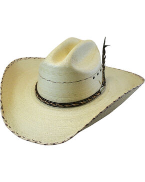 Larry Mahan Men's 30X Logan Palm Leaf Cowboy Hat , Natural, hi-res