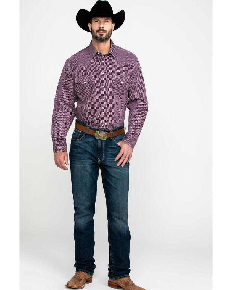 Cinch Men's Purple Diamond Geo Print Long Sleeve Western Shirt , Purple, hi-res