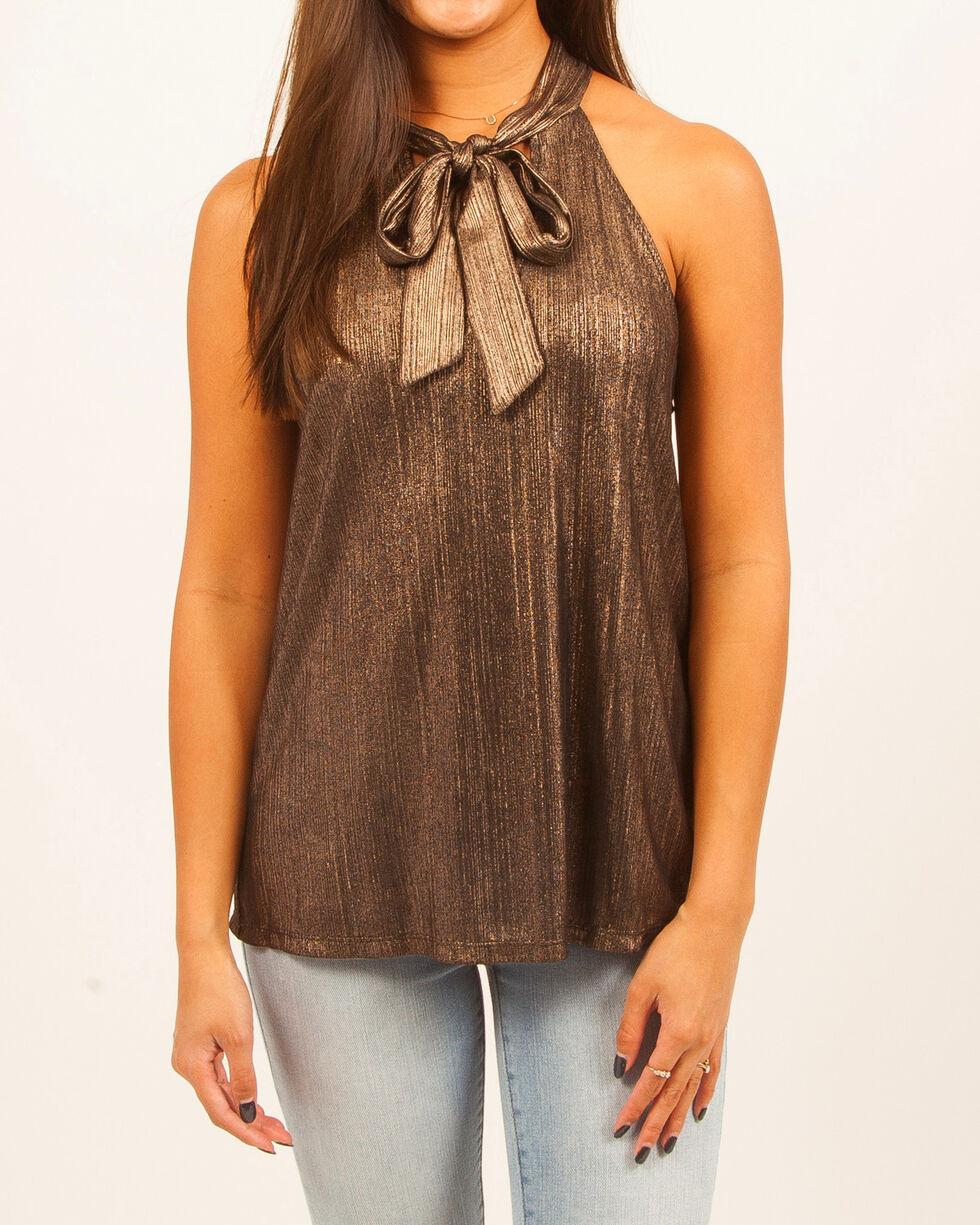 Others Follow Women's Metallic Draping Necktie Sleeveless Top, , hi-res