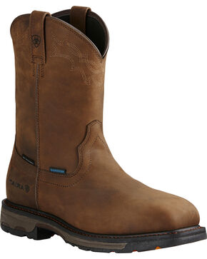 Ariat Men's Brown Workhog Waterproof Work Boots - Composite Toe , Brown, hi-res