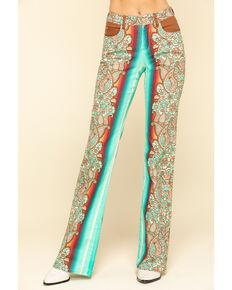 Ranch Dress'n Women's Durango Printed Trousers , Turquoise, hi-res