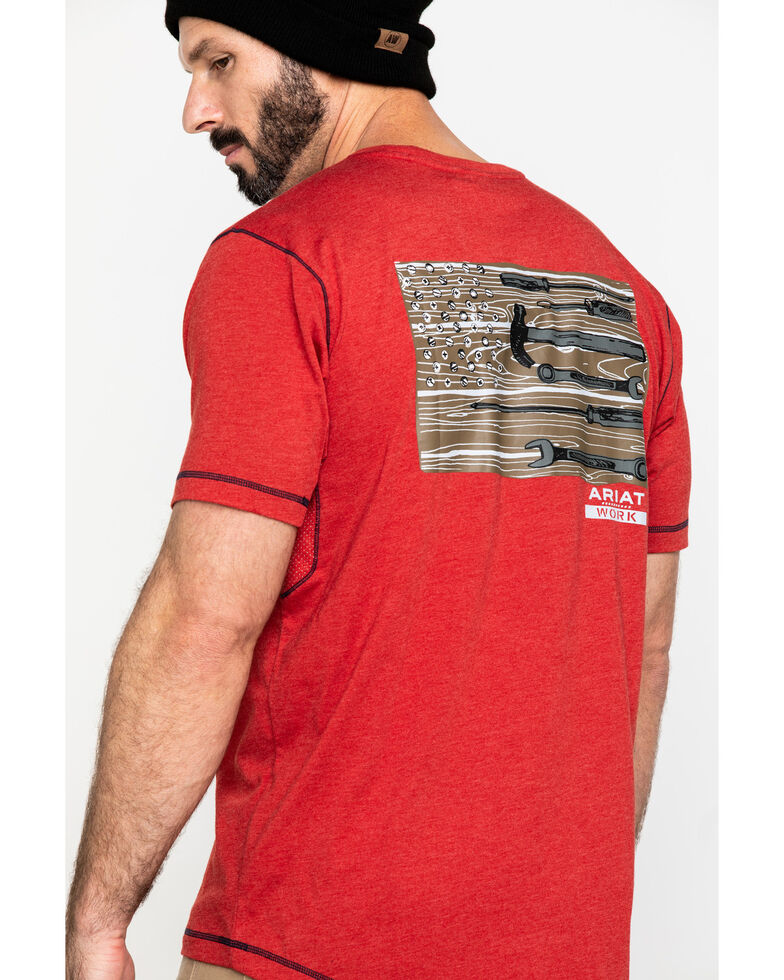 Ariat Men's Red Rebar Workman Technician Graphic Work T-Shirt , Red, hi-res