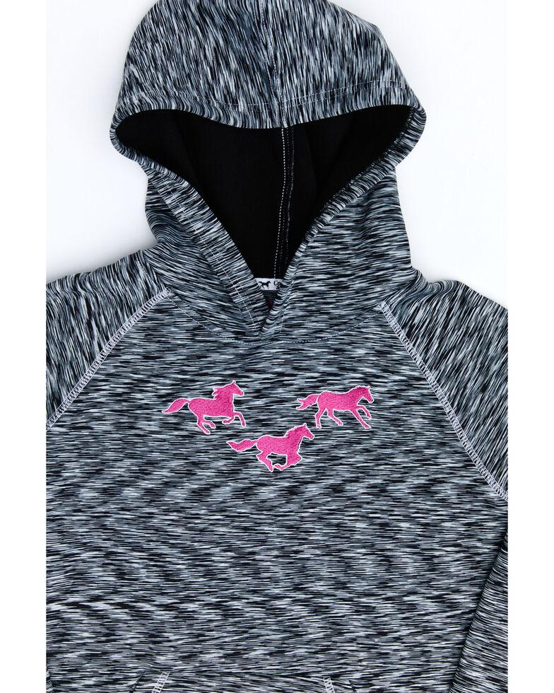Cowgirl Hardware Girls' Black Marled Embroidered Horse Hooded Sweatshirt , Black, hi-res