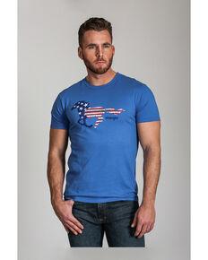 Wrangler Men's Blue Flag Horse Graphic Short Sleeve T-Shirt , Blue, hi-res