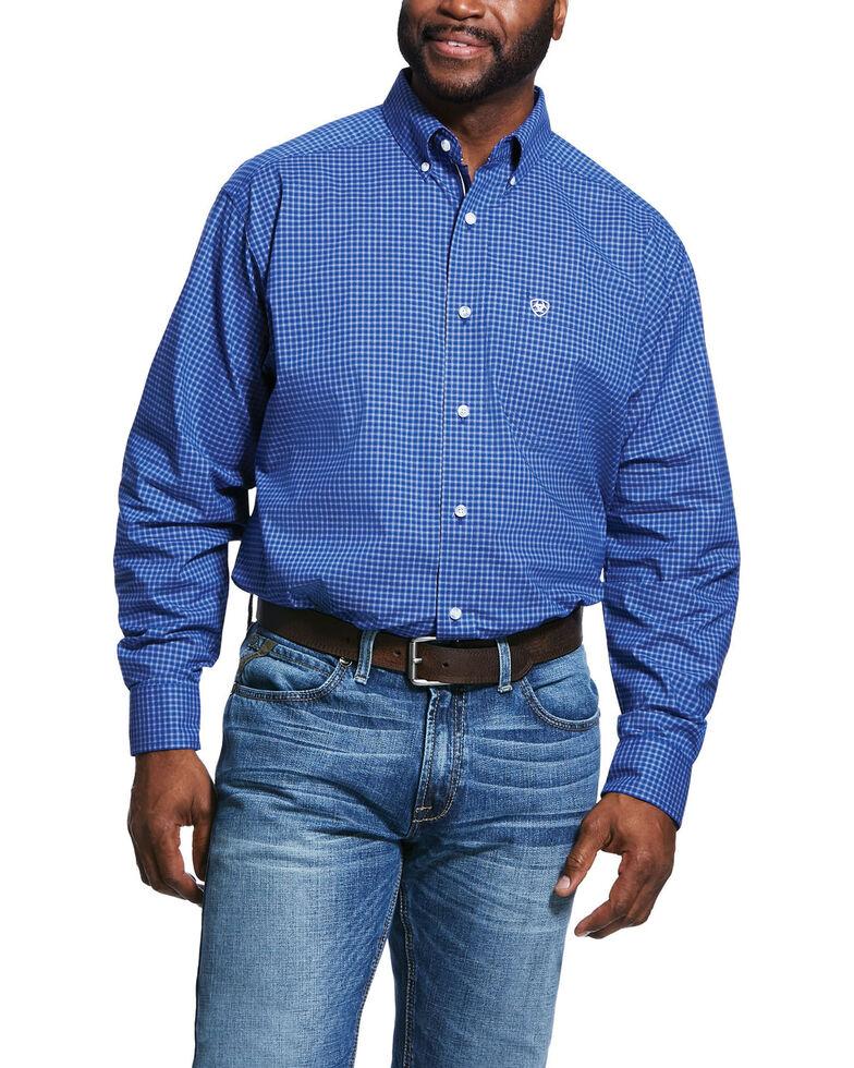 Ariat Men's Glowman Small Plaid Long Sleeve Western Shirt , Blue, hi-res