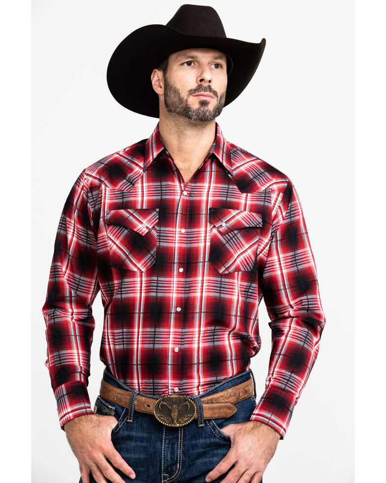 Ely Cattleman Men's Assorted Multi Textured Large Plaid Long Sleeve Western Shirt  , Multi, hi-res