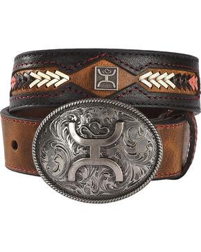 Hooey Kids' Brown Fancy Stitch Belt , Brown, hi-res
