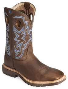 Twisted X Lite Weight Work Boots - Square Toe, Brown, hi-res