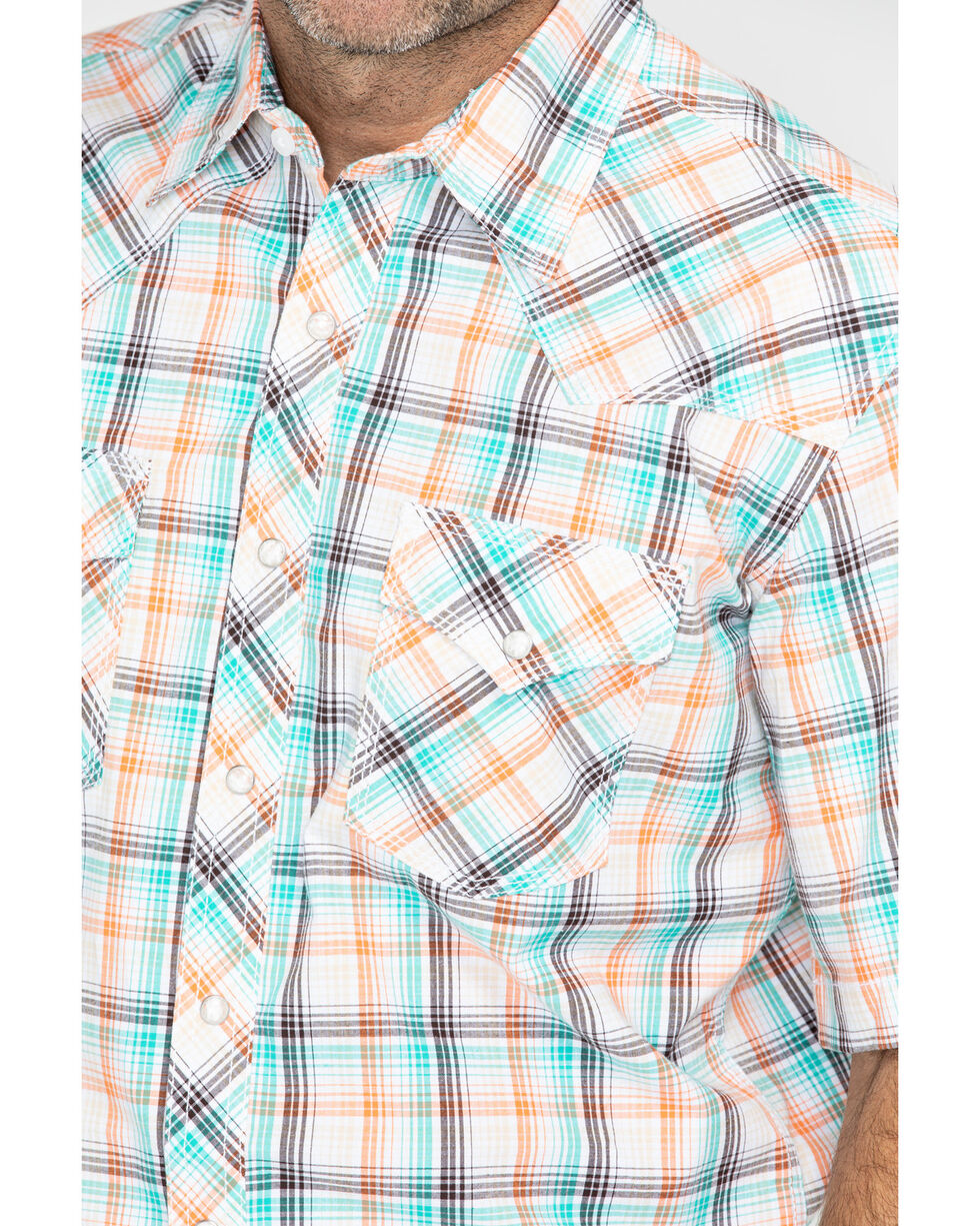 Wrangler Men's 20X Plaid Long Sleeve Advanced Comfort Competition Shirt , Turquoise, hi-res