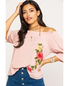 CES FEMME Women's Blush Floral Off The Shoulder Top, Blush, hi-res