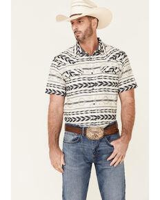 Cody James Men's Chute Aztec Dobby Print Short Sleeve Snap Western Shirt - Tall , White, hi-res