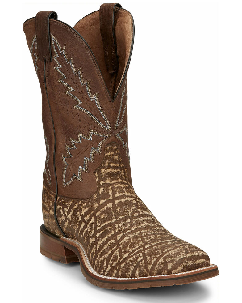 Tony Lama Men's Bowie Brown Western Boots - Wide Square Toe, Brown, hi-res