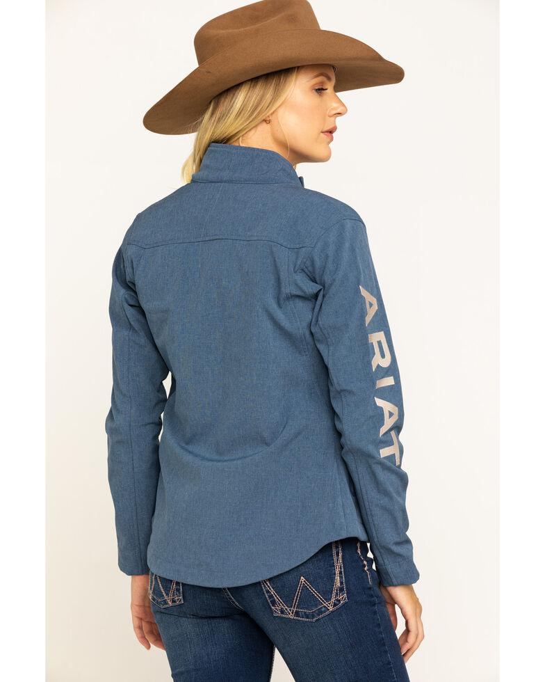 Ariat Women's Lake Life Heather Team Softshell Jacket, Blue, hi-res
