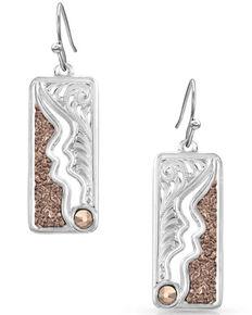 Montana Silversmiths Women's Along The River Wild Earrings, Rose, hi-res