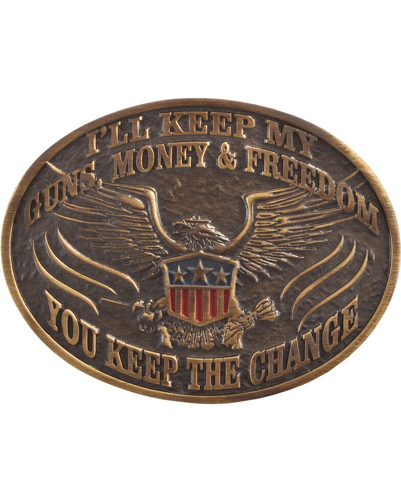 Cody James Men's I'll Keep My Guns Belt Buckle, Bronze, hi-res