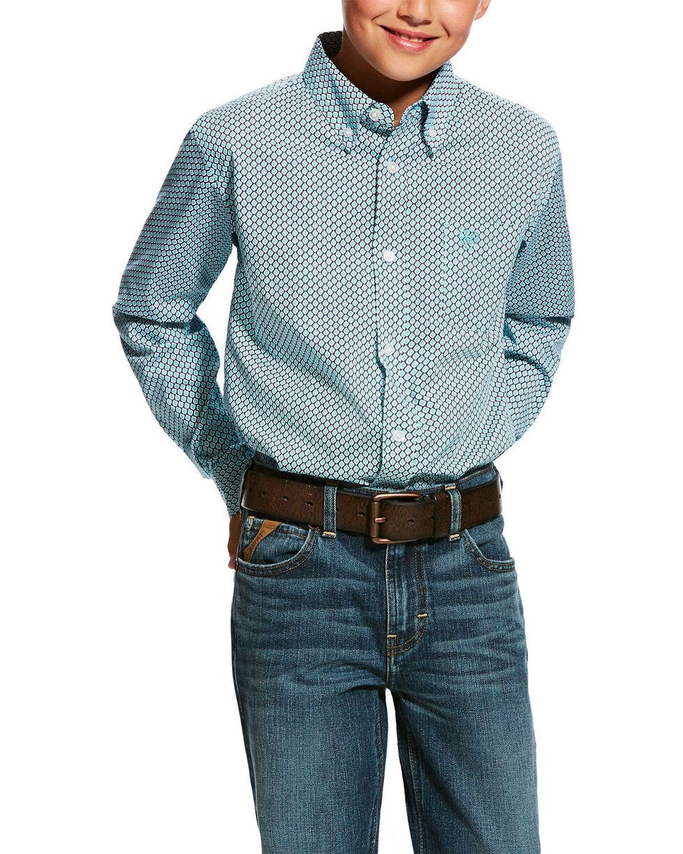 Ariat Boys' Hassinger Stretch Geo Print Long Sleeve Western Shirt , Blue, hi-res