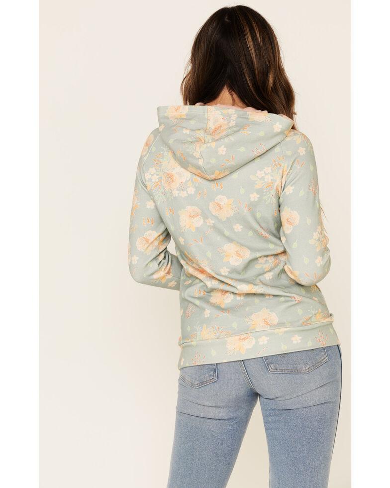 Ampersand Avenue Women's Teal Floral Print Pullover Hoodie , Teal, hi-res