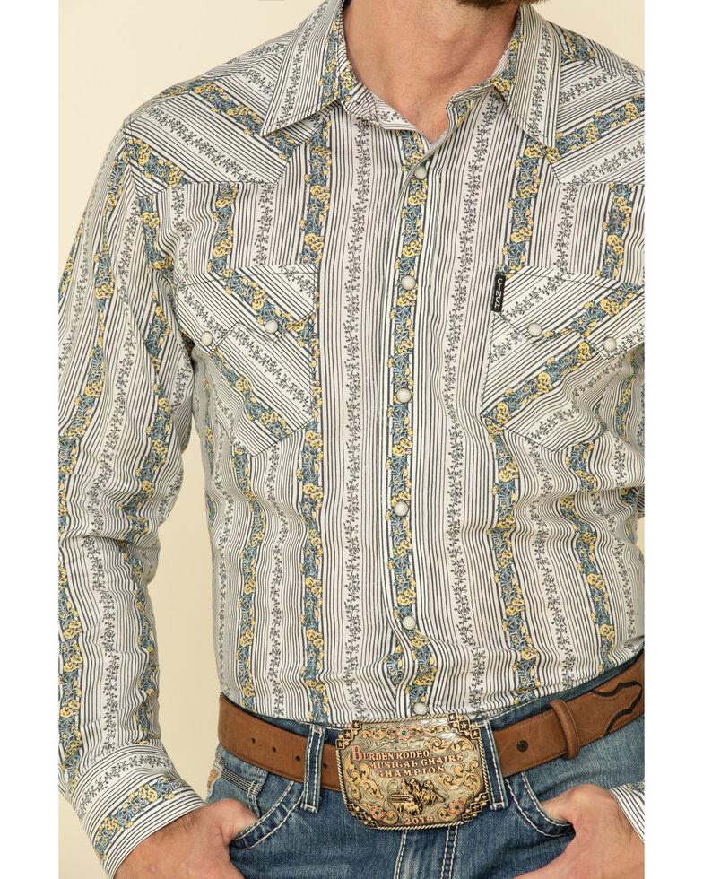 Cinch Men's White Floral Print Long Sleeve Western Shirt , White, hi-res