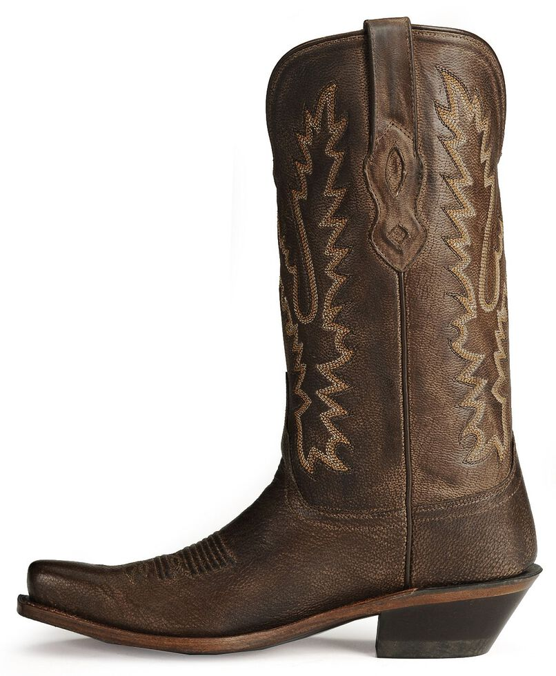 Old West Women's Distressed Leather Cowgirl Boots  - Snip Toe, Dark Brown, hi-res
