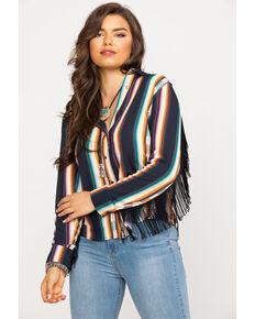 Wrangler Women's Serape Fringe Long Sleeve Western Shirt, Black, hi-res
