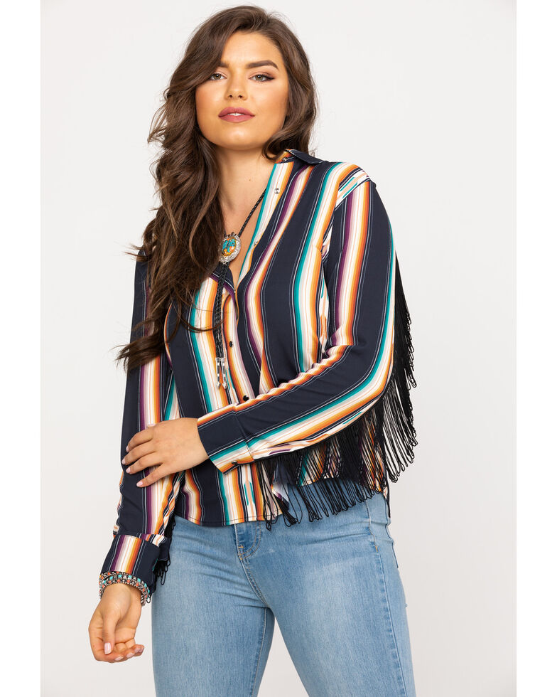 Wrangler Women's Serape Fringe Long Sleeve Western Shirt, Black, hi-res