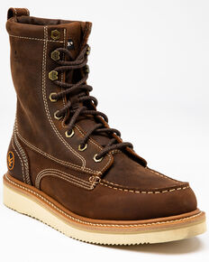 "Hawx Men's 8"" Lacer Wedge Work Boots - Soft Toe, Brown, hi-res"
