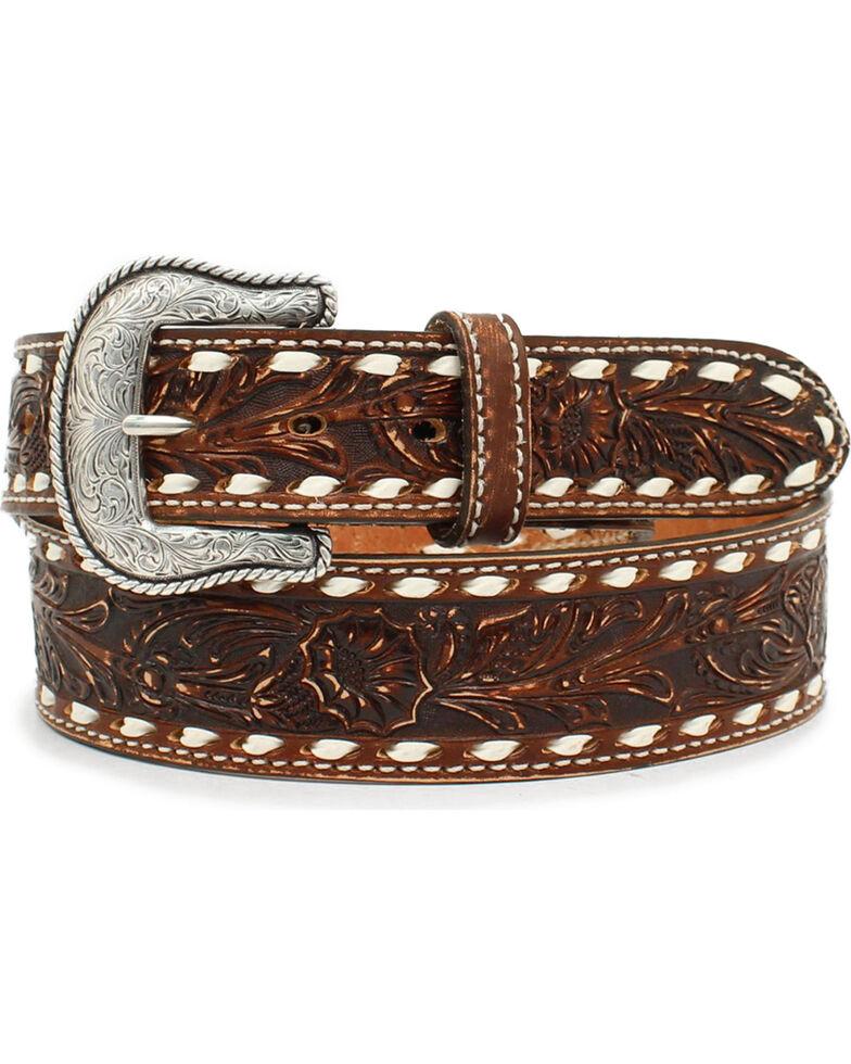 Nocona Men's Brown Scrolling Cheyenne Etched Belt , Brown, hi-res
