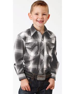 Roper Boys' Black Long Sleeve Western Shirt , Black, hi-res