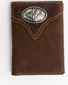 Cody James Men's Boot Stitch Longhorn Tri-Fold Leather Wallet , Tan, hi-res
