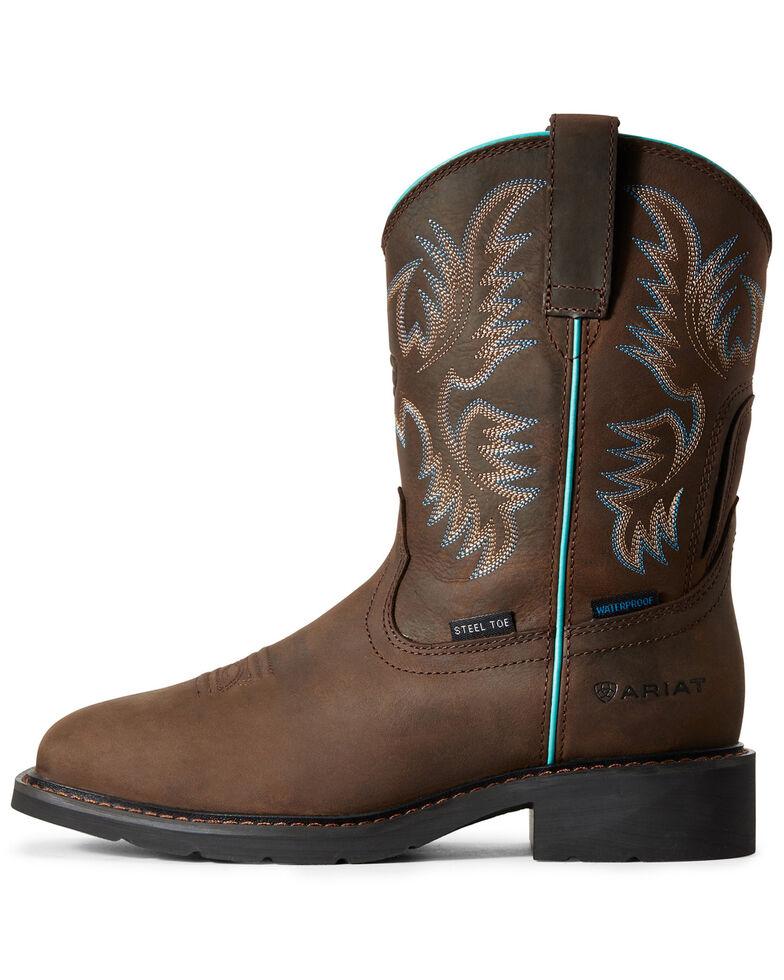 Ariat Women's Krista Waterproof Western Work Boots - Steel Toe, Brown, hi-res