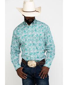 George Strait By Wrangler Emerald Paisley Print Long Sleeve Western Shirt , Green, hi-res
