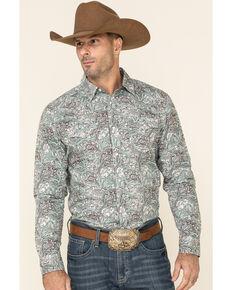Cody James Men's Grasslands Paisley Print Long Sleeve Western Shirt - Big , Teal, hi-res