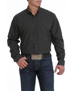 Cinch Men's Black Plaid Button Long Sleeve Western Shirt - Big , Black, hi-res