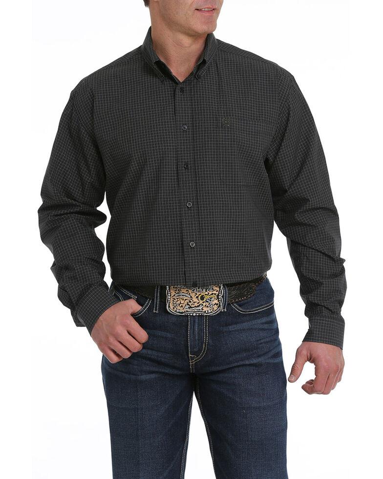 Cinch Men's Black Plaid Button Long Sleeve Western Shirt - Big , Black, hi-res