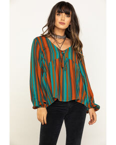 Eyeshadow Women's Stripe Tie Front Peasant Top, Rust Copper, hi-res