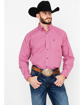 Ariat Men's Tesky Plaid Long Sleeve Western Shirt, Coral, hi-res