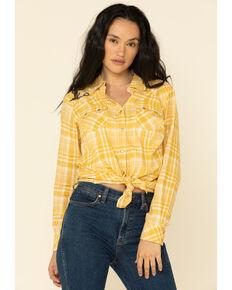 Ariat Women's Yellow Plaid R.E.A.L. Sunrise Desert Snap Long Sleeve Western Shirt, Gold, hi-res